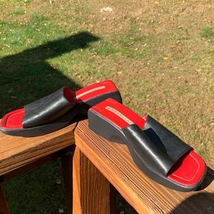 Vintage 90s Red Black Leather Mules Clogs Sandals